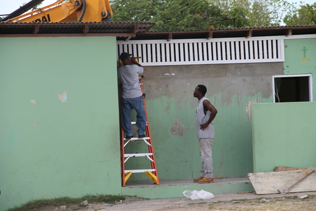Ongoing renovation works at the Ivor Walters Primary School's washrooms as part of the Schools Rehabilitation Project funded by the Nevis Island Administration