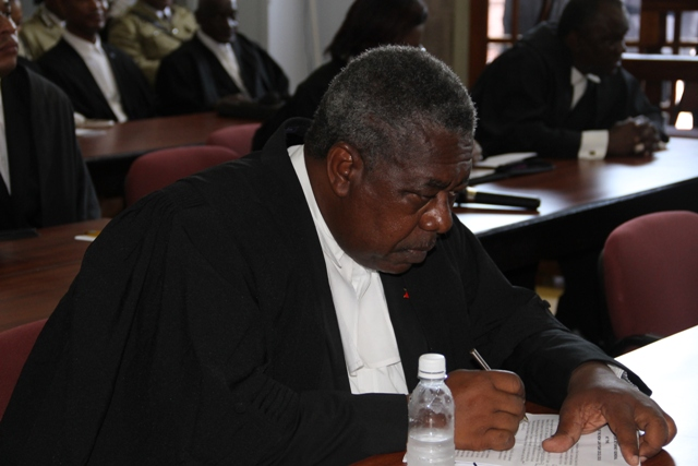 Attorney General and Minister of Justice and Legal Affairs in St. Kitts and Nevis Hon. Vincent Byron, at the High Court in Charlestown on September 17, 2015, before the commencement of a Special Sitting to commemorate the opening of the New Law Year 2015-2016