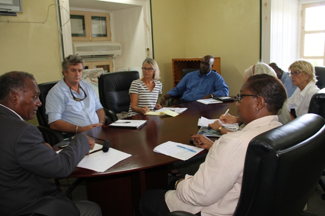 Premier of Nevis Hon. Vance Amory addressing members of the private sector at a meeting at the Nevis Island Administration (NIA) Conference Room on September, 08, 2015
