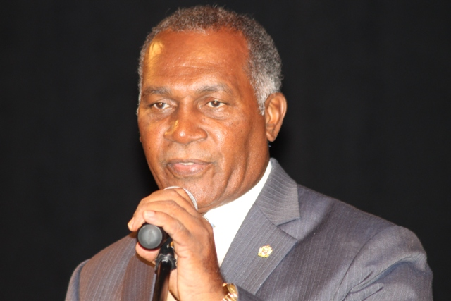 Premier of Nevis Hon. Vance Amory delivering the keynote address at the Nevis Island Administration's 9th Annual Consultation on the Economy on September 24, 2015 at the Nevis Performing Arts Centre
