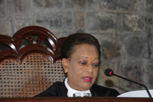 Resident Judge on Nevis Justice Lorraine Williams delivering an address on September 17, 2015, during a Special Sitting of the High Court in Charlestown to commemorate the opening of the New Law Year 2015-2016