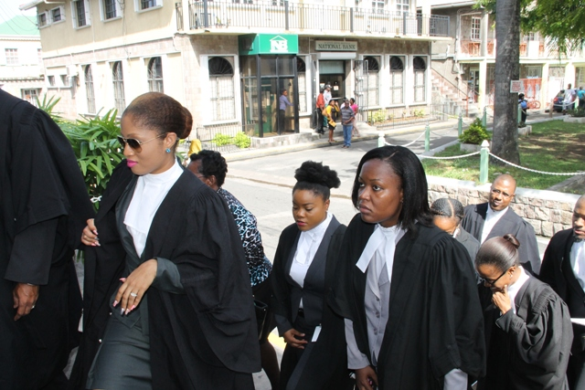 Lawyers entering the High Court in Charlestown for a Special Sitting on September 17, 2015, to commemorate the opening of the New Law Year 2015-2016