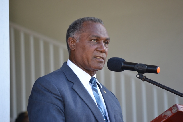 Premier of Nevis Hon Vance Amory delivering an address at the 32nd Anniversary Independence Ceremonial Parade and Awards Ceremony at the Elquemedo Willet Park on September 19, 2015