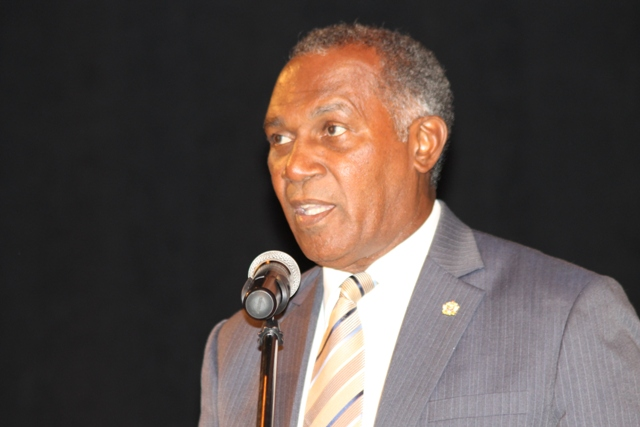 Premier of Nevis Hon. Vance Amory delivering the feature address at the 9th Consultation on the Economy hosted by the Nevis Island Administration through the Ministry of Finance on September 24, 2015, at the Nevis Performing Arts Centre