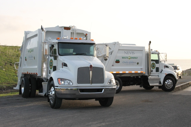 Two fully-automated state-of-the-art Kenworth garbage collection trucks (one a 12-yard and the other a 20-yard) from US-based Omni Global given to the Nevis Solid Waste Management Authority on September 17, 2015, as part of an agreement for a waste-to-energy plant and a solar plant on Nevis by the end of 2015