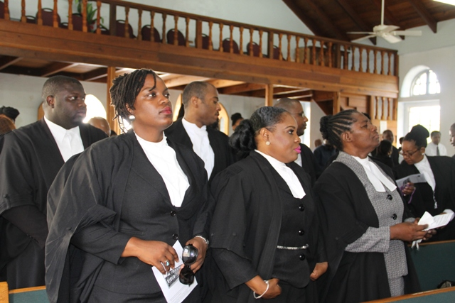 Lawyers at the Special Service at the Taylor's Memorial Holiness Church in Charlestown ahead of a Special Sitting at the High Court in Nevis to commemorate the opening of the New Law Year 2015 – 2016 on September 17, 2015
