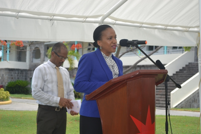 Permanent Secretary of Health Nicole Slack-Liburd with Hospital Administrator Gary Pemberton at the handing over ceremony for the information systems and wheelchairs from the Government and people of the Republic of China (Taiwan) on September 18, 2015