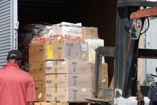 One of several pallets of non-perishable items among the relief supplies donated by the Four Seasons Resort, Nevis and its staff delivered at the Long Point Port on September 07, 2015 ahead of shipment to the to the Commonwealth of Dominica