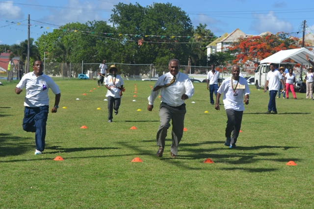 Premier of Nevis Hon. Vance Amory taking part in the races at the first ever Seniors Fun and Action Games hosted by the Ministry of Social Development, Senior's Division at the Elquemedo Willet Park on October 15, 2015