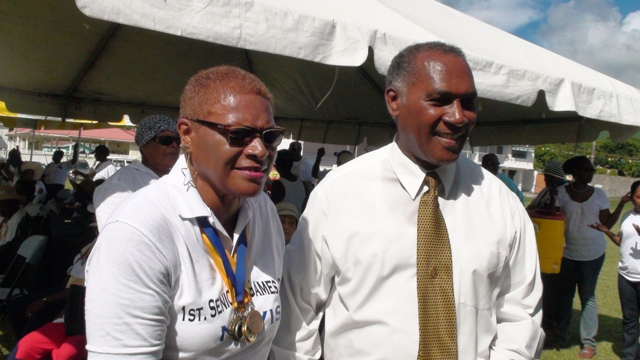 Premier of Nevis Hon. Vance Amory and Patron for the inaugural Nevis Seniors Fun and Action Games Meredith Amory-Field at the Elquemedo Willet Park on October 15, 2015