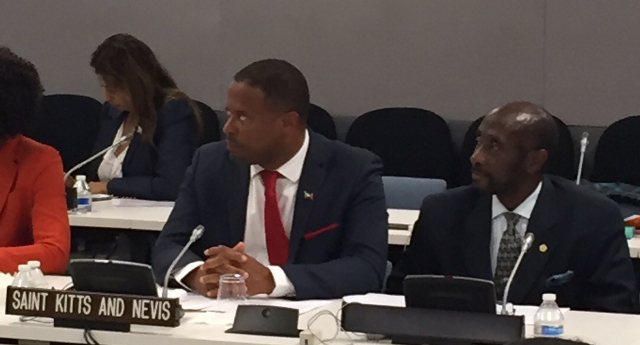 (L-R) Foreign Affairs Minister Hon. Mark Brantley and St. Kitts and Nevis Ambassador to the United Nations His Excellency Sam Condor at the 70th session of the United Nations General Assembly in New York