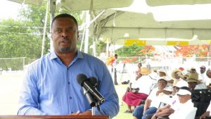 Deputy Premier of Nevis and Senior Minister of Social Development Hon. Mark Brantley delivering remarks at the opening ceremony for the inaugural Nevis Seniors Fun and Action Games at the Elquemedo Willet Park on October 15, 2015