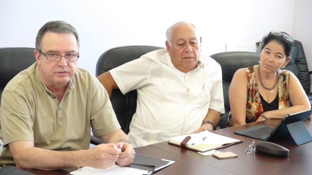 (L-R) Engineer at ARC Associates Inc. Daniel Casal, Consultant Engineer with International Airport Development Company Ltd. Leonardo Perez accompanied by Project Coordinator Luz Maria Guerra Brito