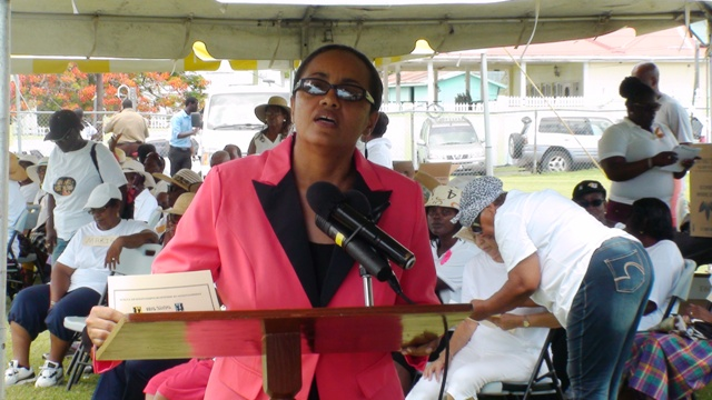 Minister of State for Health and Social Services in the Federal Government, Hon. Wendy Phipps delivering remarks at the opening ceremony for the inaugural Nevis Seniors Fun and Action Games at the Elquemedo Willet Park on October 15, 2015