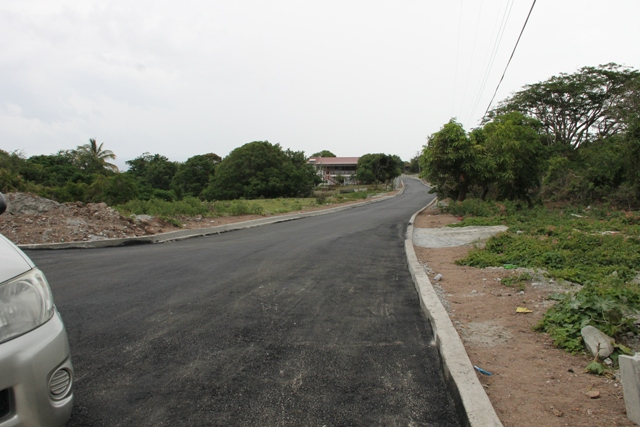 A section of Hanley's Road with the first layer of asphalt concrete on Hanley's Road during the Hanley's Road Rehabilitation Project on October 09, 2015