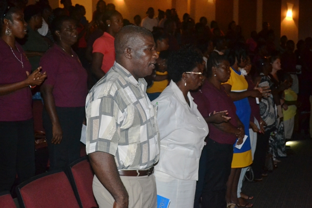 Members of the Nevis Teachers' Union observing World Teachers day at the Nevis Performing Arts Centre at Pinney's on October 05, 2015