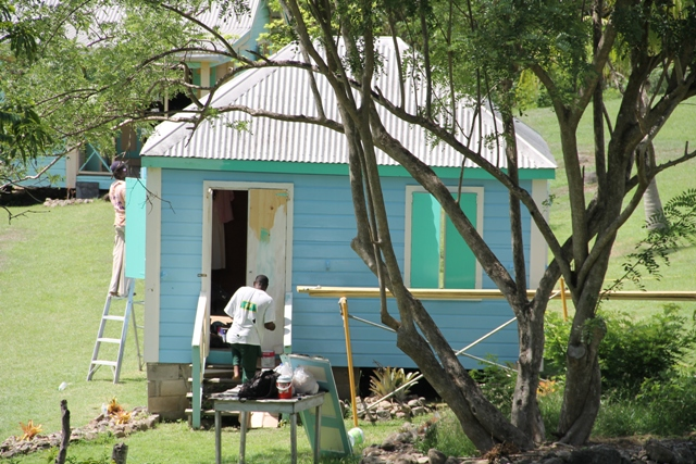 Traditional homes at the Nevisian Heritage Village under renovation by the Public Works Department in the Nevis Island Administration