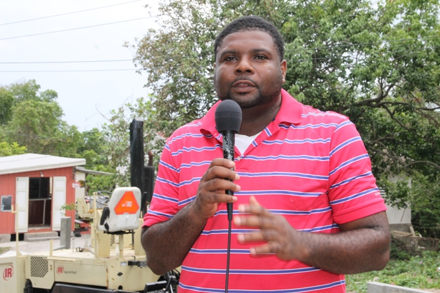 Junior Minister in the Ministry of Communications, Works and Public Utilities Hon. Troy Liburd visiting the Hanley's Road Rehabilitation Project on October 09, 2015