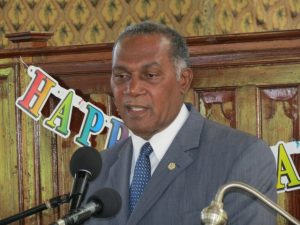 Premier of Nevis Hon. Vance Amory delivering remarks at the Gingerland Secondary School's 42nd annual Graduation Ceremony at the Gingerland Methodist Church on November 12, 2015