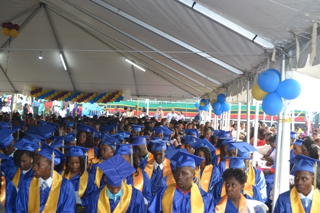 Graduates of the Charlestown Secondary School and the Nevis Sixth Form College at their Graduation and Prize-giving Ceremony at the Cicely Grell-Hull Dora Stevens Netball Complex on November 11, 2015