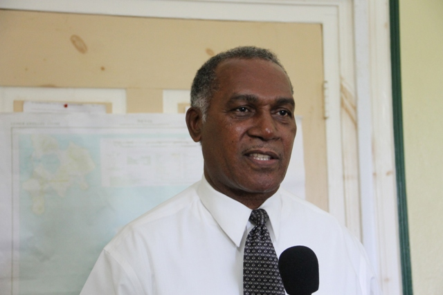 Premier of Nevis Hon. Vance Amory at the Nevis Island Administration's conference room at Bath Hotel on November 11, 2015