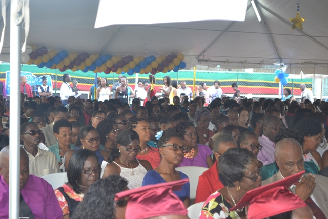 A section of persons attending the Charlestown Secondary School and the Nevis Sixth Form College Graduation and Prize-giving Ceremony at the Cicely Grell-Hull Dora Stevens Netball Complex on November 11, 2015