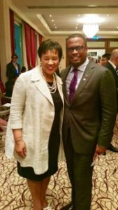 St Kitts-Nevis Chief Diplomat, Foreign Affairs Minister Hon. Mark Brantley congratulates Commonwealth Secretary General-elect HE Baroness Patricia Scotland