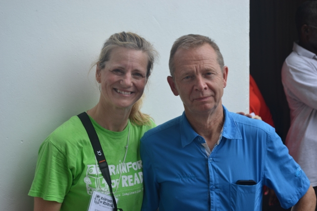 Founders of the Rainforest of Reading programme Richard Clewes and Sonya White at the Elquemedo T. Willett Park attending the first Rainforest of Reading Book Festival in Nevis on November 06, 2015
