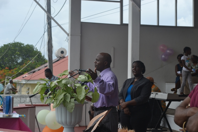 Permanent Secretary in the Premier's Ministry Wakely Daniel delivering remarks at the start of the first Rainforest of Reading Book Festival at the Elquemedo T. Willett Park on November 06, 2015