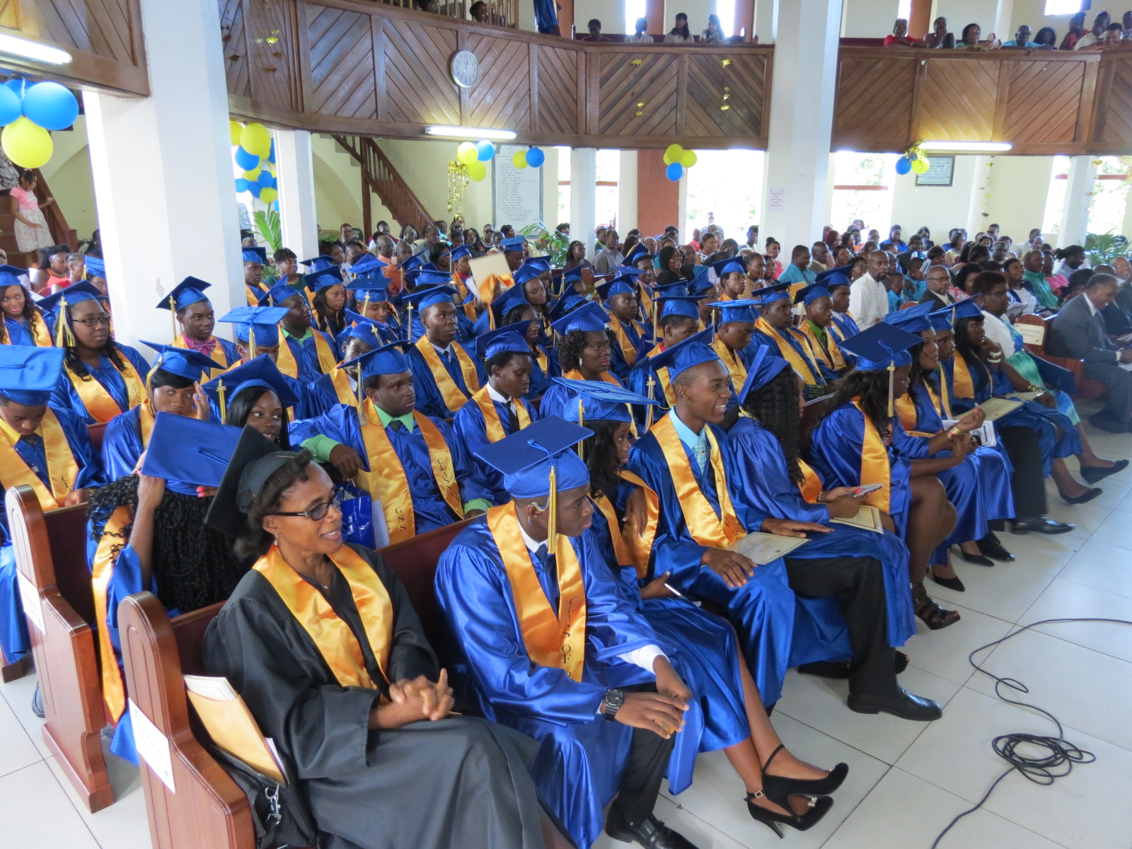 Graduands at the 42nd annual Graduation Ceremony of the Gingerland Secondary School at the Gingerland Methodist Church on November 12, 2015