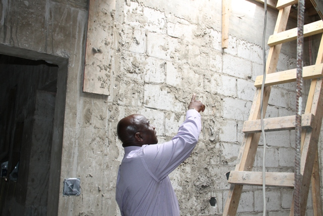 Minister of Agriculture on Nevis Hon. Alexis Jeffers tours ongoing construction works of the Veterinary Clinic at Prospect