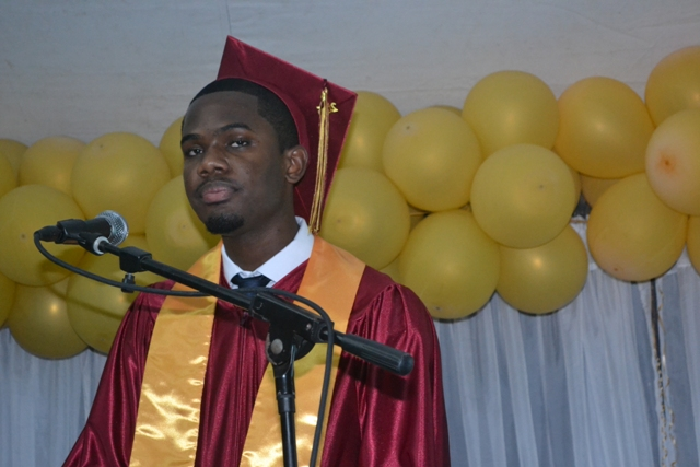 Valedictorian of the Nevis Sixth Form College (CAPE) Graduating Class of 2015 Tyler Martin delivering his valedictory speech at the Charlestown Secondary School and the Nevis Sixth Form College Graduation and Prize-giving Ceremony at the Cicely Grell-Hull Dora Stevens Netball Complex on November 11, 2015
