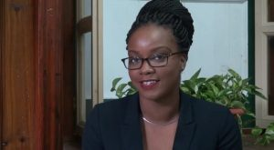 Mickia Mills, Nevis' representative at the 7th annual Commonwealth Youth Parliament in Australia during an interview at Department of Information on November 11, 2015