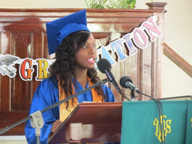 Derez Morton Valedictorian of the Gingerland Secondary School's Graduating Class of 2015 delivering the valedictory speech at the 42nd annual graduating ceremony at the Gingerland Methodist Church on November 12, 2015