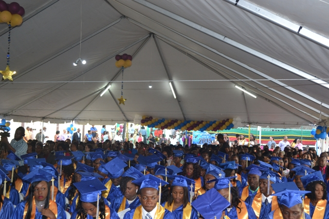 Graduates of the Charlestown Secondary School's Class of 2015 during their Graduation and Prize-giving Ceremony for the Charlestown Secondary School and the Nevis Sixth Form College at the Cicely Grell-Hull Dora Stevens Netball Complex on November 11, 2015