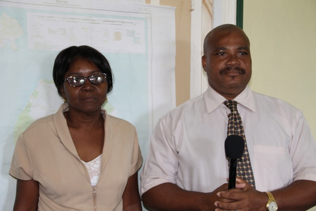 (l-r) President of the Nevis Teachers' Union Ornette Webbe and President of the St. Kitts Teachers' Union Ron Dublin Collins at the Nevis Island Administration's conference room at Bath Hotel on November 11, 2015