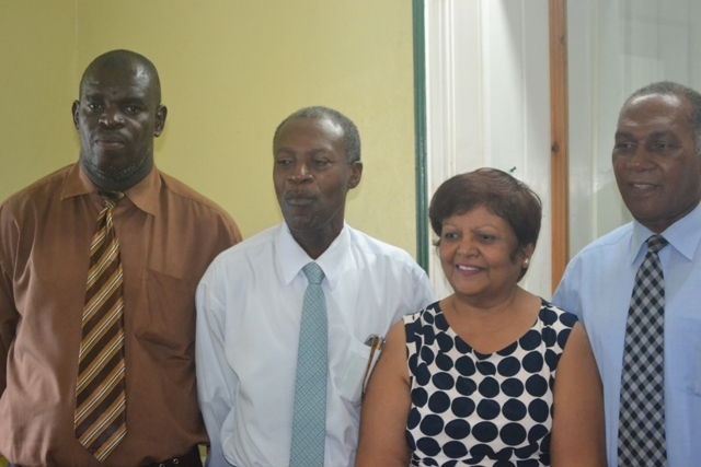 (l-r) TVET Coordinator on Nevis, Mr. Orette Smith, Former Chairperson St. Kitts and Nevis TVET Council, Mr. Clyde Christopher, European Union Consultant Dr. Lucy Steward with Premier of Nevis and Minister of Education Hon. Vance Amory following a meeting at the Nevis Island Administration's conference at Bath Plain on November 27, 2015