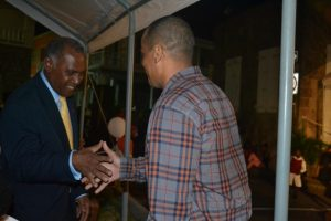 (L-R) Premier of Nevis Hon. Vance Amory congratulates Stephen Hanley Patron of the annual Christmas Tree Lighting Ceremony at the Memorial Square in Charlestown on December 02, 2015