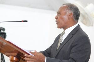Premier of Nevis and Minister of Finance Hon. Vance Amory delivering the 2016 Budget Address at a sitting of the Nevis Island Assembly on December 08, 2015