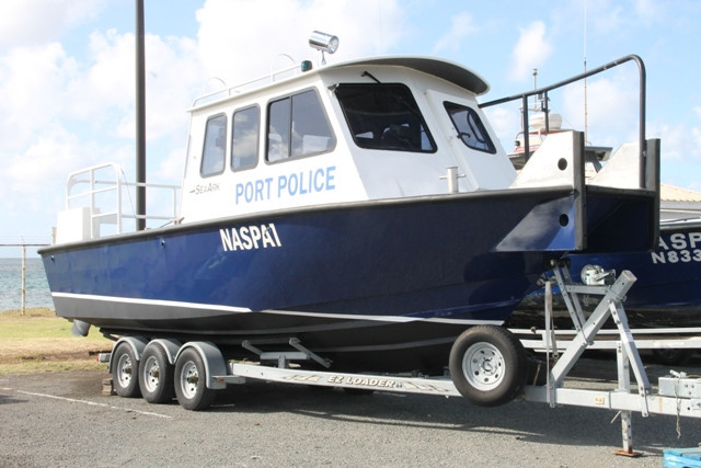 The replacement boat for use by the Nevis Air and Sea Ports Authority's Marine Unit at the Long Point Port on December 18, 2015, ahead of its commissioning