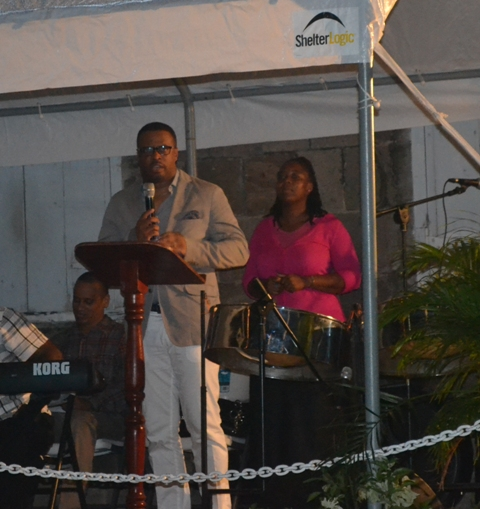 Deputy Premier and Minister of Social Development Hon. Mark Brantley delivering remarks at the annual Christmas Tree Lighting Ceremony at the Memorial Square in Charlestown on December 02, 2015.