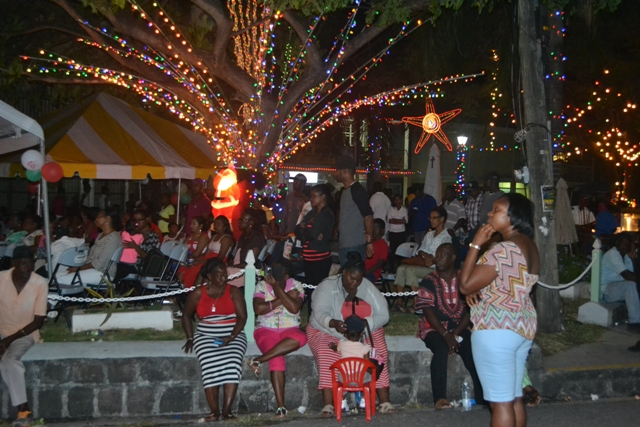 Patrons at the Department of Community Development's first official Christmas Tree Lighting Ceremony at the Memorial Square in Charlestown on December 02, 2015