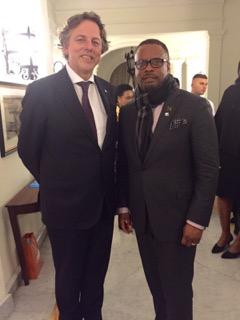 Minister of Foreign Affairs the Hon. Mark Brantley with Minister of Foreign Affairs of the Netherlands Mr. Bert Koenders