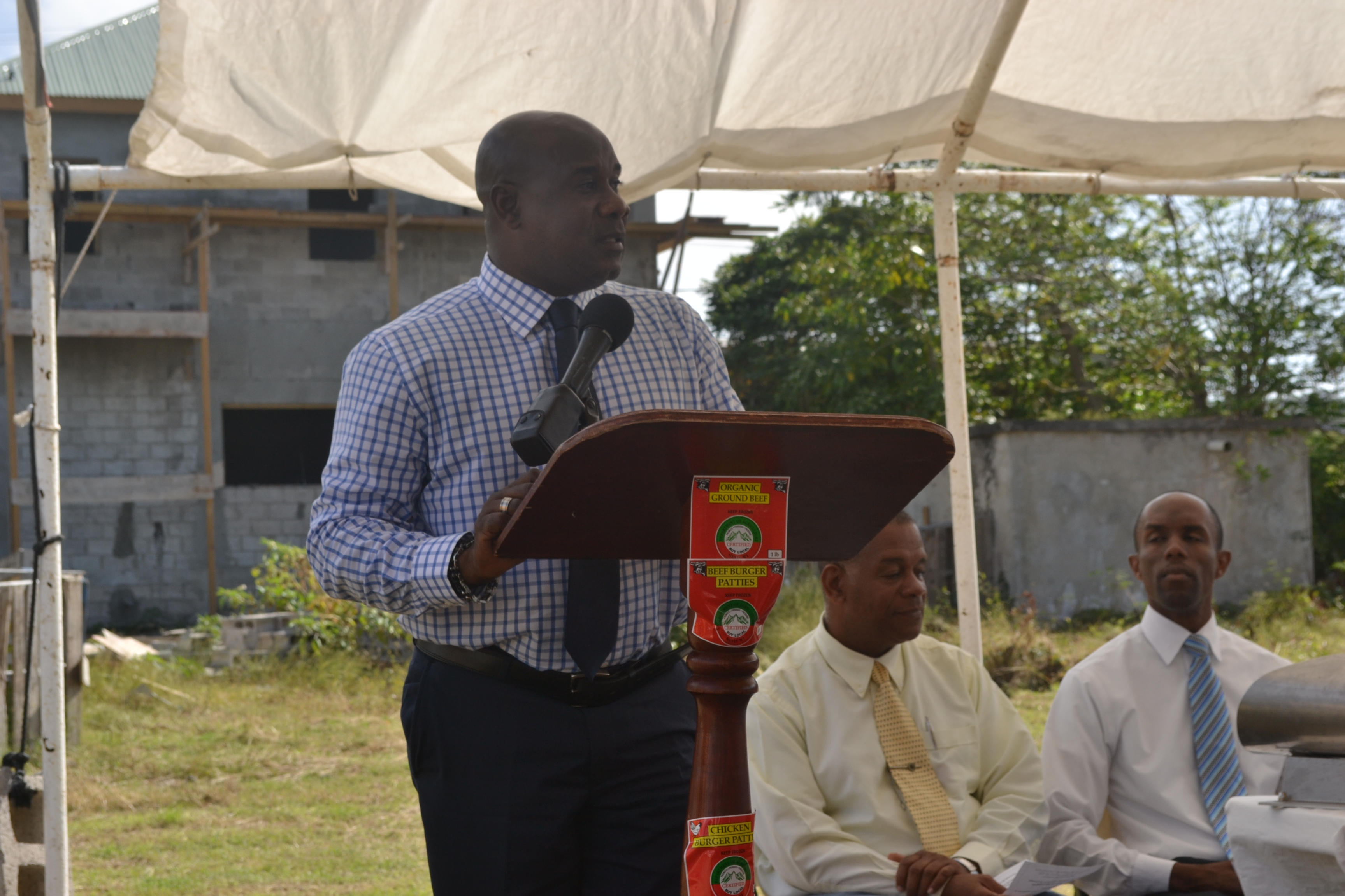 Minister of Agriculture Hon. Alexis Jeffers making remarks at the Ground Breaking Ceremony for the extension of the Abattoir Division on the Abattoir Division Grounds on January 26 2016