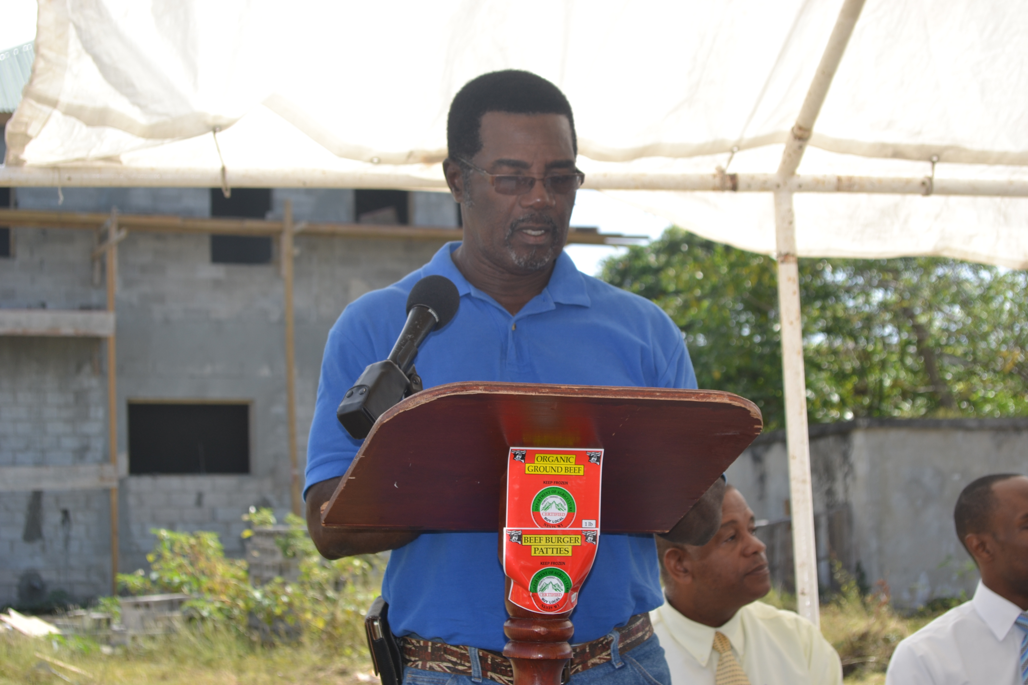 Mr. Edmund Jeffers Contractor for Nevis Housing and Land Development Corporation for Abattoir Extension giving an overview of the project at the Ground Breaking Ceremony for the extension of the Abattoir Division on the Abattoir Division Grounds on January 26 2016
