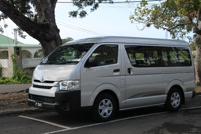 A new $135,000 Toyota Hiace 15-seater bus procured by the Nevis Island Administration for transporting special needs students, parents and teachers of the Cecele Browne Integrated School at Prospect