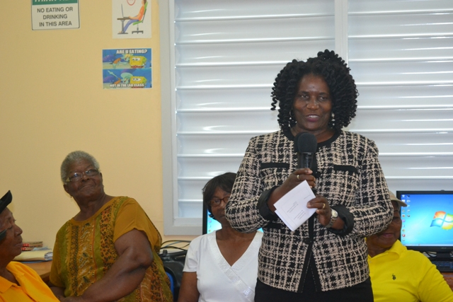 Coordinator of Adult and Continuing Education Officer, Mrs. Adina Taylor giving overview of Basic Computer Skills Course for Seniors at the VOJN Primary School Computer Laboratory on February 01 2016