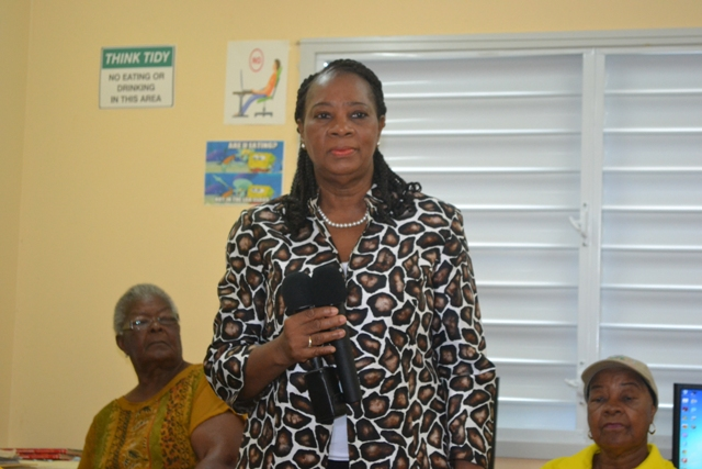 Coordinator of the Senior Citizens Division, Mrs. Garcia Hendrickson chairperson for opening ceremony of Basic Computer Skills Course for Seniors held at VOJN Primary School Computer Laboratory on February 01 2016