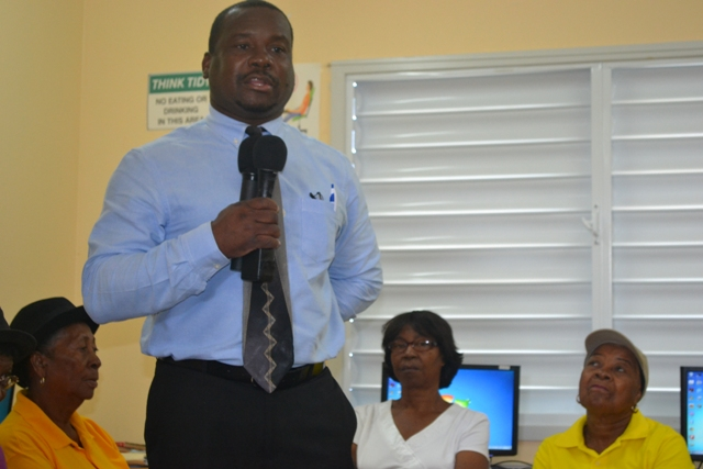 Permanent Secretary in the Ministry of Social Development, Mr. Keith Glasgow, making remarks at the opening ceremony of the Computer Skills Course for Seniors held at VOJN Primary School Computer Laboratory on February 01 2016