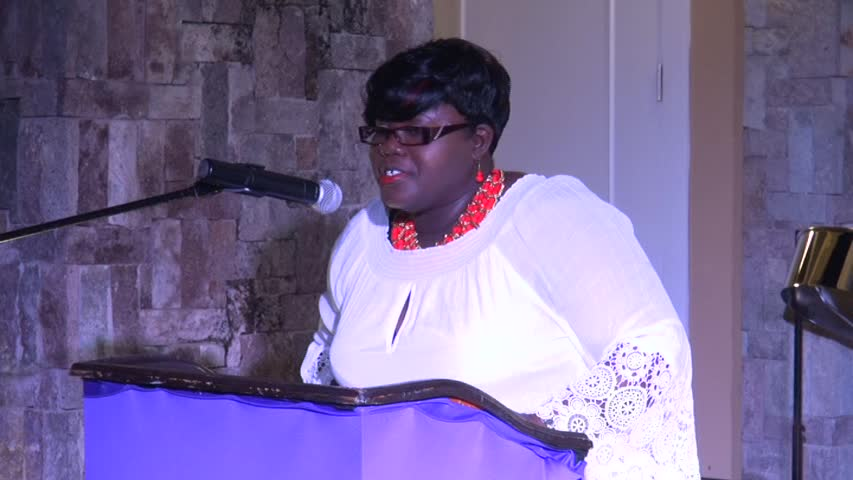 Junior Minister responsible for Social Development Hon. Hazel Brandy-Williams delivering remarks at the International Women's Day 2016 Women of Excellence Awards Ceremony and Cocktail hosted by the Ministry of Social Development, Department of Social Services' Gender Affairs Division on March 12, 2016, at the Nevis Performing Arts Centre in Pinney's